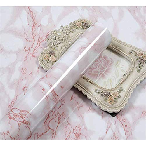 (White Red Marble Contact Wallpaper Peel and Stick Marble Wallpaper Contact Paper for Kitchen Backsplash Countertops Cabinet Furniture Vinyl Film 23.62