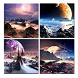 Amazon Price History for:Amoy Art - Outer Space Planet Canvas Print,Giclee Artwork, Stretched and Framed, Paintings on Canvas Modern Landscape Wall Art for Home Decorations Set of 4 (12x12inchx4pcs)