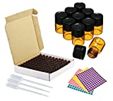 Furnido 100Pcs tiny Amber DIY essential oil Bottle 2ml 5/8 drams small brown Sample vials with orifice reducer & black cap Perfume Test Bottle,blank label Stickers &2ml Transfer Pipette included
