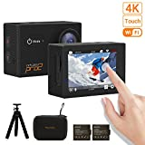 MGcool PRO2 4K Touchscreen Action Camera, 16MP Ultra HD Waterproof Sony Sensor Sport Action Cam Camcorder with 170° Wide-angle Lens and 2 Batteries, Christmas Gifts (Portable Bag + Mini Tripod) (PRO2)