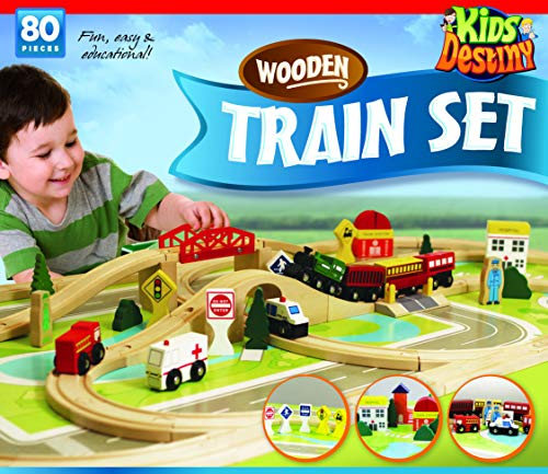 Deluxe Wooden Train Set - Compatible with All Major Brands Including Thomas Railway System - by Kids ()