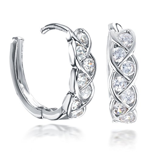 (Gemini Women's Gift Infinity Knot Twisted Huggie Round Hinged Hoop Swarovski Cubic Zirconia Earrings Gm072 , Color: White Gold)