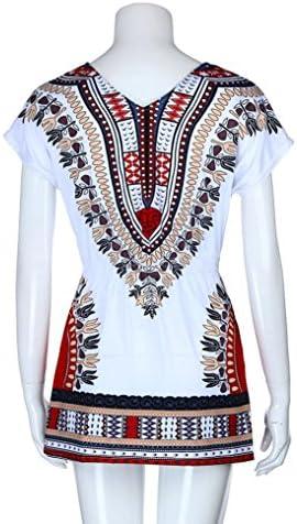 SHOBDW Moda para Mujer Casual con Estampado étnico v-Cuello ...