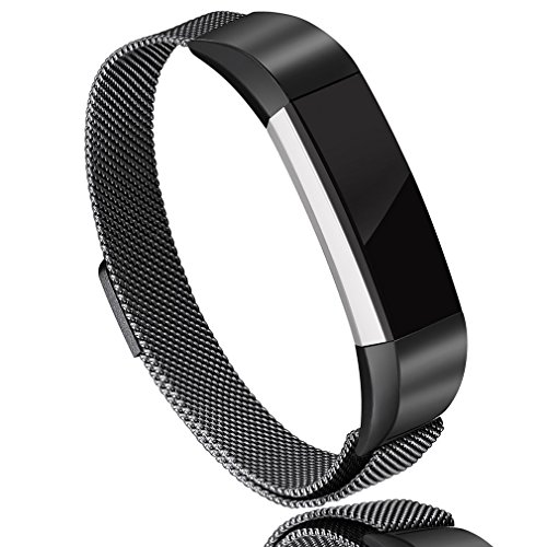AK For Fitbit Alta HR Bands Milanese Stainless Steel Small Large Magnetic Closure, Adjustable Alta HR/Alta Accessories Metal Bands Straps for Fitbit Alta HR 2017/Fitbit Alta 2016 (Black, Large) by AK