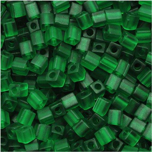 - Miyuki 4mm Glass Cube Beads Transparent Matte Dark Green #146F 10 Grams