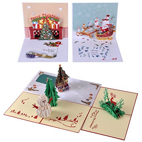 eZAKKA 3D Christmas Cards Pop Up Holiday Greeting Gifts Cards with Envelopes for Xmas Merry Christmas New Year, 5-Pack