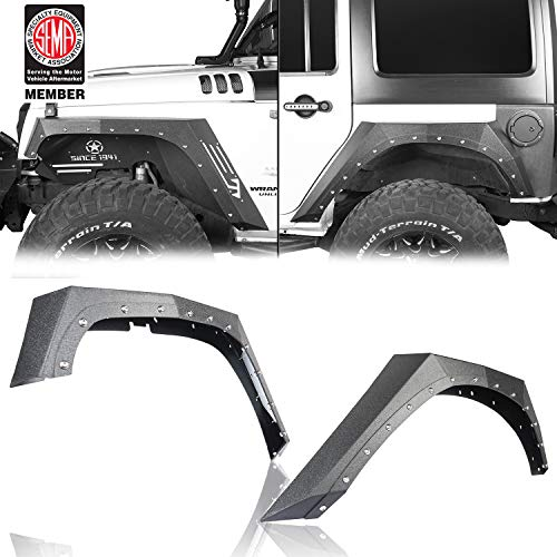 Road Armor - Hooke Road Steel Armor Style Front & Rear Fender Flares for 2007-2018 Jeep Wrangler JK (4PCS)