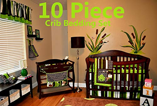 - Nursery Crib Bedding Set, Frog Crib Bedding Set, 10 Count with Quilt, Bumper,Sheet,Crib Skirt,Toy Bag,Daiper Stacker/Organizer,Window Valances,Pillows(Green,Brown,Lime Green,White)