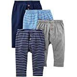 Simple Joys by Carter's Baby Boys' 4-Pack Pant, Navy/Stripes/Gray, 6-9 Months