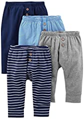 Four pairs of pants in baby-soft cotton featuring banded cuffs
