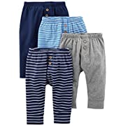 Simple Joys by Carter's Baby Boys' 4-Pack Pant, Navy/Stripes/Gray, Newborn