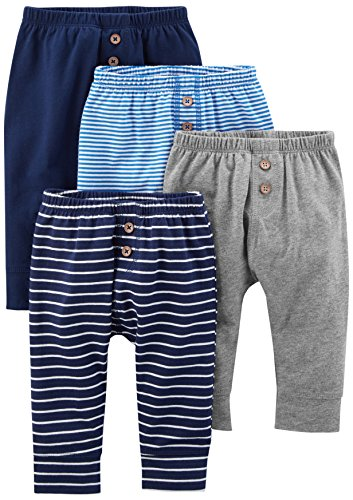 Simple Joys by Carter's Baby Boys' 4-Pack Pant, Navy/Stripes/Gray, 12 Months (Baby Clothes Boy)