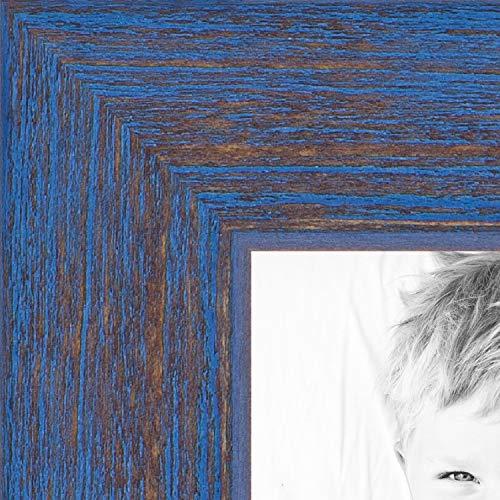 (ArtToFrames 11x14 inch Blue Rustic Barnwood Wood Picture Frame, WOM0066-1343-YBLU-11x14)