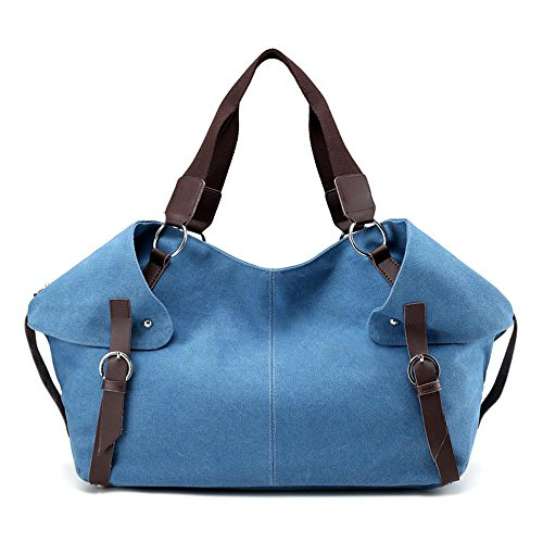 Shoulder Portable Ladies blue Fashion Messenger Travel Canvas qwATIUCBq