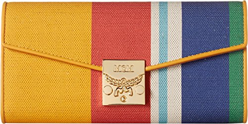 MCM Women's Patricia Canvas Two Fold Large Wallet Rainbow Yellow One Size by MCM