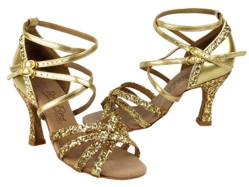 Dames Femmes Chaussures De Danse De Salon De Très Fine C5008mirage Série 3 Talon Or Sparkle Et Cuir Dor