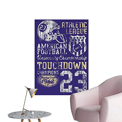 Wall Stickers for Living Room American Football College Versi Champi Ship Apparel Blue White Vinyl Wall Stickers Print,12
