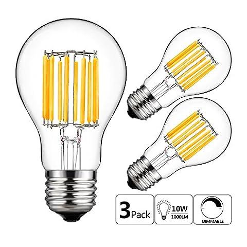 GEZEE 10W Edison Style Vintage LED Filament Light Bulb,100W Incandescent Replacement,Warm White 2700K,1000LM, E26 Medium Base Lamp, A19(A60) Antique Shape, Clear Glass Cover,Dimmable(3 (100watt Edison Light Bulbs)