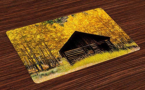Autumn Place Mats Pack of 4 Abandoned Wooden Farmhouse in Fall with Aspen Trees Rural Pastoral Nature Scene, Non-Slip Washable Fabric Placemats for Dining Room Kitchen Table Decor, Brown Yellow,