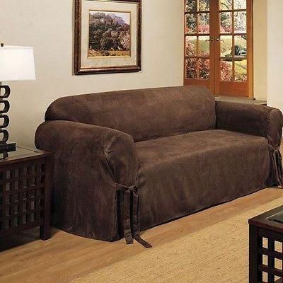 - 2 PIECE MICRO-SUEDE FURNITURE SLIPCOVER SOFA & LOVESEAT COUCH COVERS/BROWN