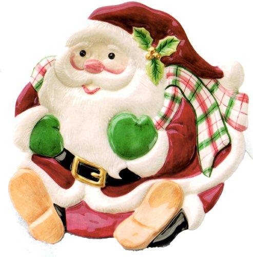 Fitz and Floyd Plaid Christmas Santa Canape'