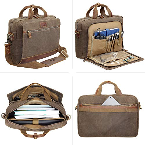 Manificent Men's Leather Briefcases Messenger Bag, 15.6 Inch Vintage Waxed Canvas Laptop Bag Attache Case,Waterproof Shoulder Bag, Brown by Manificent (Image #3)
