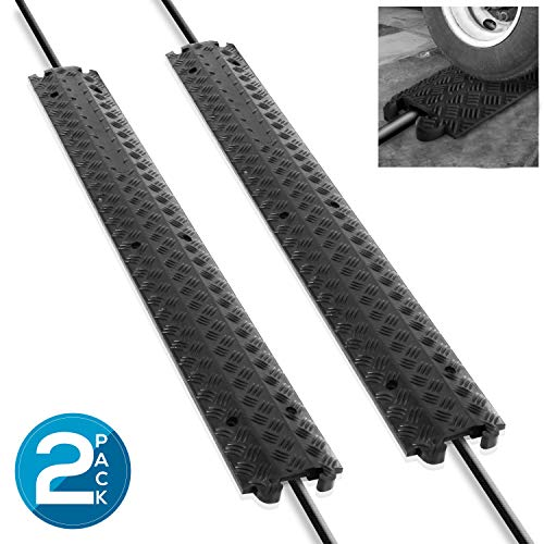 Pyle Black/Double B07WRSN564 80 Inch Ramp Rubber Floor Cord Concealer-1 Channel Heavy Duty Cable Protector Wire/Hose/Pipe Hider Driveway Protective Covering Armor PCBLCO101X2 (Pair)