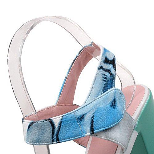 Amoonyfashion Kvinna Pu Kick-häl Öppen Tå Diverse Färg Hook-and-loop Sandaler Blå