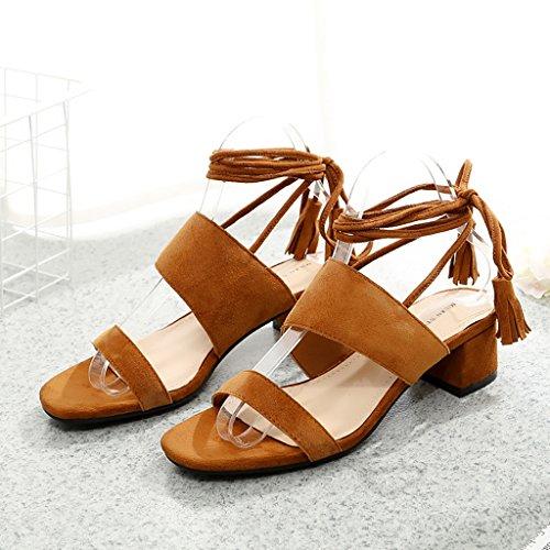PENGFEI Chanclas de playa para mujer Zapatillas de verano Zapatillas de compras Mujer Sandalias de tacón mediano de moda casual Beige, negro, marrón y gris Cómodo y transpirable ( Color : Negro , Tama Marrón
