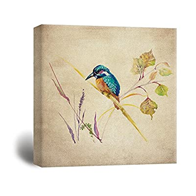 Unbelievable Handicraft, Premium Creation, Square Retro Style Water Color Painting of a Brid and Plants