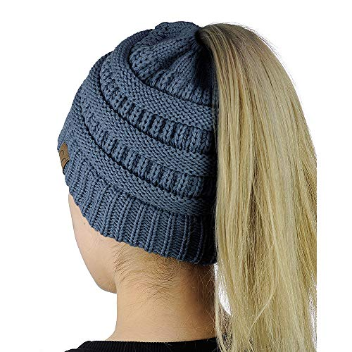 Pony Tail Hat Knit Cap Womens Beanie Solid
