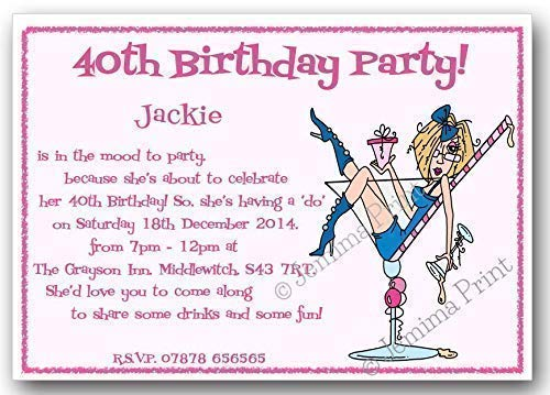 Personalised Birthday Party invitations 21st or any age x 10