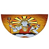 Half Round Door Mat Entrance Rug Floor Mats,Spiritual,Religious Figure on Grunge Backdrop Idol Meditation Boho Holy Print,Amber Orange Light Blue,Garage Entry Carpet Decor for House Patio Grass Water