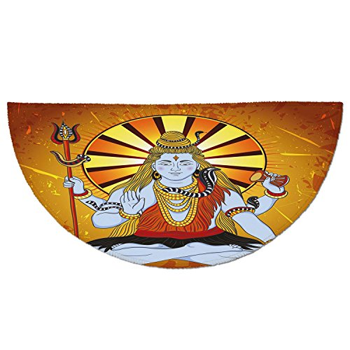 Half Round Door Mat Entrance Rug Floor Mats,Spiritual,Religious Figure on Grunge Backdrop Idol Meditation Boho Holy Print,Amber Orange Light Blue,Garage Entry Carpet Decor for House Patio Grass Water by iPrint