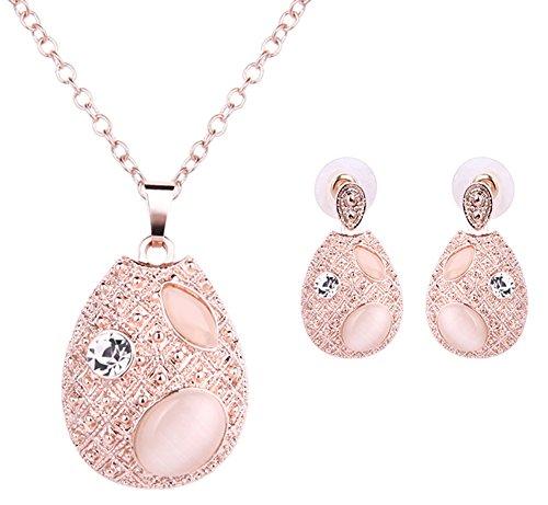 Hosaire Oval Style Necklace Earrings Elegant Women Jewelery Creative Set of Imitation Cat Eyes Pendant Necklace + - Set Earring And Oval Necklace