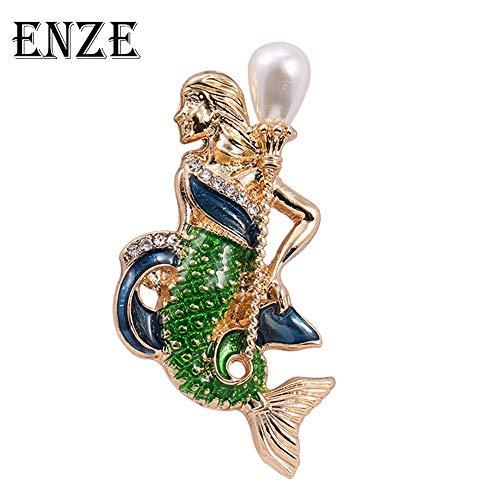 Fashion Brand New Ocean of Love Set Auger Enamel Glaze Mermaid Brooch Pin Badge Emblem Corsage Christmas Gifts Jewelry Wholesale Women Girl
