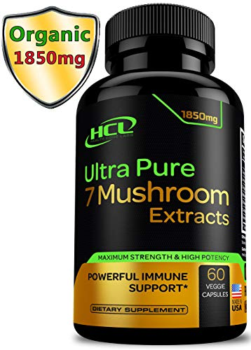 Organic Mushroom Supplement Extracts - Strong Immune System Booster & Brain Supplement Complex of Lions Mane Cordyceps Chaga Reishi Turkey Tail Maitake Shiitake Capsules - Stress Relief Memory Pills