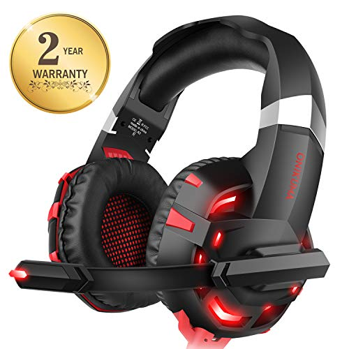 Xbox one Headset for PS4, Willnorn K2 Gaming Headset with Mic Noise Cancelling Over Ear Headphones for PC, Controller, Laptop, LED Light, Stereo Sound with Bass (Red)