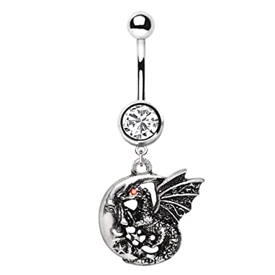 Navel Belly Button CRESCENT MOON /& Dangle OWL Crystal Pierced Body Jewelry