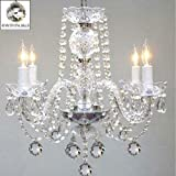 Murano Venetian Style All Crystal Chandelier H17 x W17 SWAG PLUG IN-CHANDELIER W/14′ FEET OF HANGING CHAIN AND WIRE!