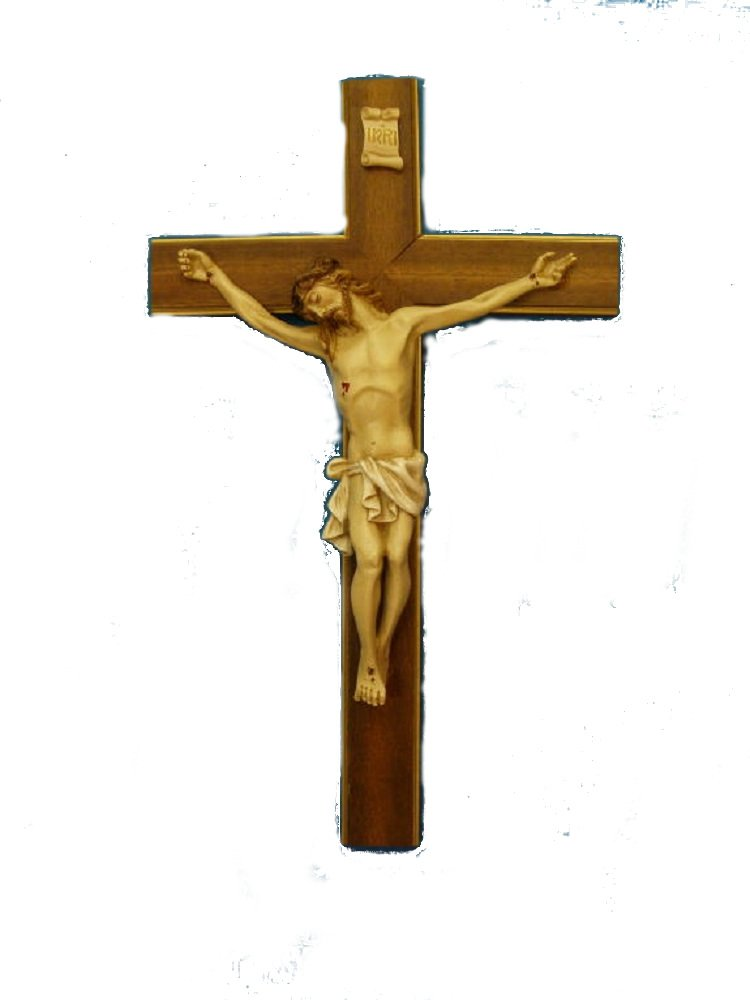 Crucifix with hand-painted alabaster corpus on a wood cross with gold highlights, 20inches. Made in Italy.