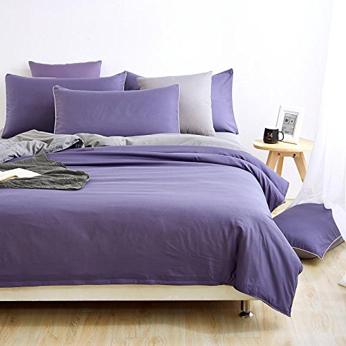 Moreover 4-Piece Bedding Collection KING/QUEEN/FULL/TWIN Size, Solid Color Microfiber Fade/Wrinkle Resistant Hypoallergenic Bedding Sets (QUEEN, LIGHT PURPLE-GREY)