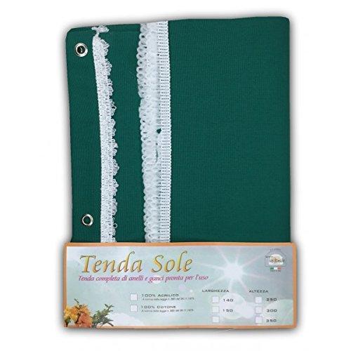 TENDA SOLE DA ESTERNO GIARDINO BALCONE UNITO VERDE CONFEZIONATA - Cm. 140x250 Tex family