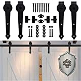 KIRIN American Country Style Arrow Shape Hardware Double Sliding Barn Doors Hardware Flat Track Set (14FT)