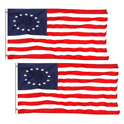 2 Pack - 3x5 ft. 100% Polyester Sharp and Vivid Color Outdoor USA Betsy Ross (Betsy Ross 13 Star)