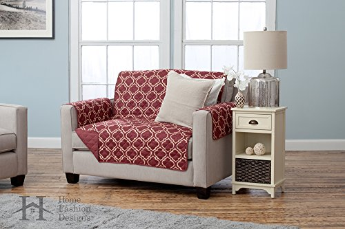 Home And Furniture (Adalyn Collection Deluxe Reversible Quilted Furniture Protector. Beautiful Print on One Side / Solid Color on the Other for Two Fresh Looks. By Home Fashion Designs Brand. (Loveseat, Burgundy))