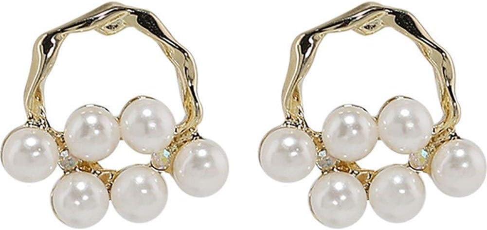 NOBRAND Pendientes de Plata S925, con Pendientes de nicho de Perlas Tejidas Suaves, Pendientes Femeninos Simples, súper Hada Salvaje Moda (Color : Silver Post)