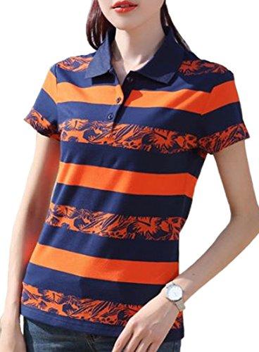 Heaven Days(ヘブンデイズ)ポロシャツ ゴルフシャツ Tシャツ 半袖 ボーダー ストライプ シンプル バイカラー レディース 1805F0152