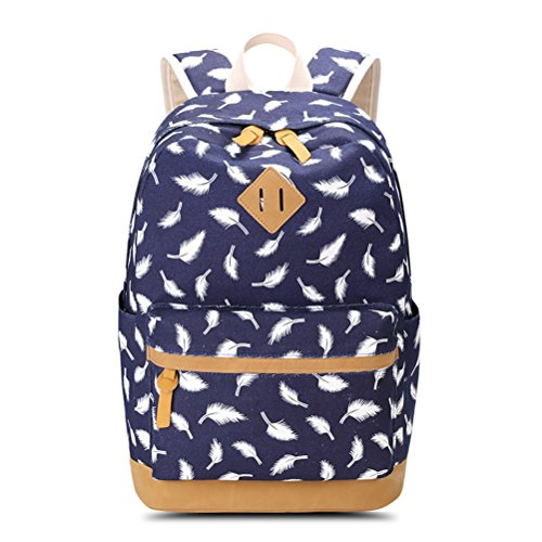 Print Feathers Female Teen Backpack School Bag Laptop Bag Travel Backpack Canvas Backpack Woman Red Dark Blue