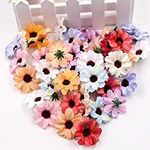 Flower Head in Bulk Wholesale for Crafts Small Silk Daisy Sunflower Handmake Artificial Wedding Decoration DIY Wreath Gift Box Scrapbooking Craft Fake Flower 50pcs 4cm 11